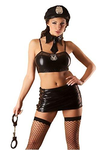 Sexy Polizeikostüm Dessous Uniform Karneval Lack 8-teilig 36-40 1570