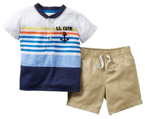 Carter's Little Boys' 2 Piece Shorts Set (Toddler) - Cutie - 4T Color: Cutie Size: 4T (Baby/Babe/Infant - Little ones)