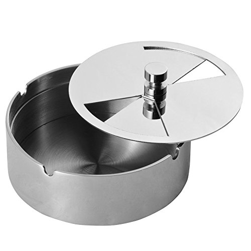Artmice-Ashtray,Artmice Stainless Steel Tabletop Decoration Unbreakable Home Ashtray with Detachable Rotating Lid (L)