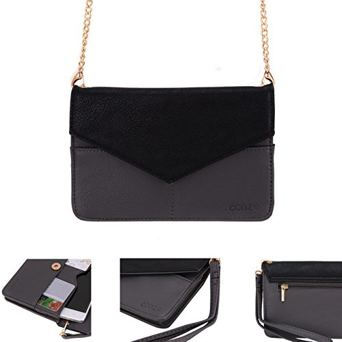 Conze da donna portafoglio tutto borsa con spallacci per Smart Phone per ZTE Grand S Pro/X Plus Z826/S3 Grigio grigio