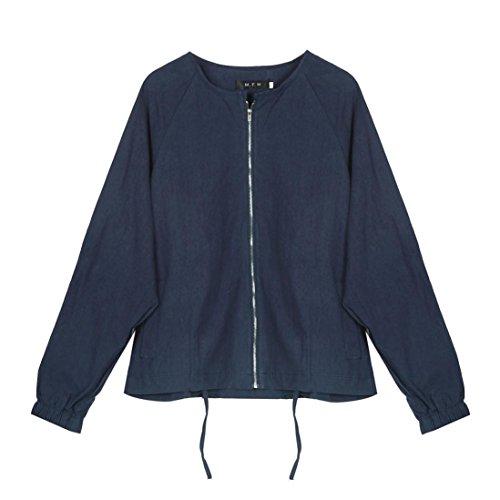 Giacca donna, FEITONG manica lunga casual outwear cappotto top (XXXL, Blu scuro)