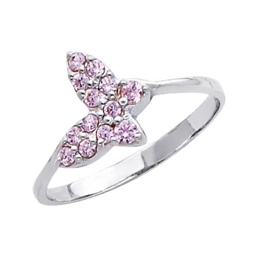 14K White Gold High Poliosh Finish Pink Butterfly Round-cut Top Quality Shines CZ Cubic Zirconia Ladies Promise Ring Band - Size 4