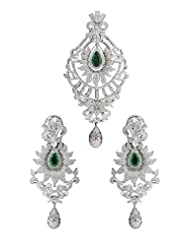 Traditional And Designer Sparkling Earring And Pendant Set For Party Wear On Sterling Silver With White Drop Moti...