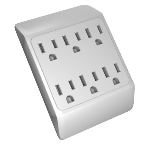 Stanley 30346 6-Outlet Wall Tap With Grounded 6-Outlet Wall Adapter, White