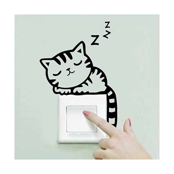 Topunder Cat Wall Stickers Light Switch Decor Decals Art Mural Baby