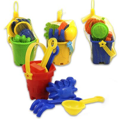 (1 Bucket) MINIATURE Rake Shovel Sifter Crab Fish Bucket Scoop Plastic Beach Toys in Bucket (Color May Vary)
