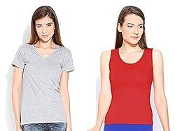 Happy Hippie Women's Combo T-shirt Grey-Red