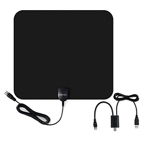 Pictek Indoor HDTV Amplified Antenna 50miles Long Range, Upgraded Version with Detachable Amplifier Signal Booster for Better Reception, 10 ft Long Cable, Black
