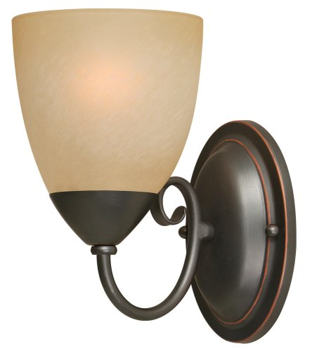 Hardware House 543793 Berkshire 5-Inch by 8-1/4-Inch Bath/Wall Lighting Fixture Oil-Rubbed Bronze