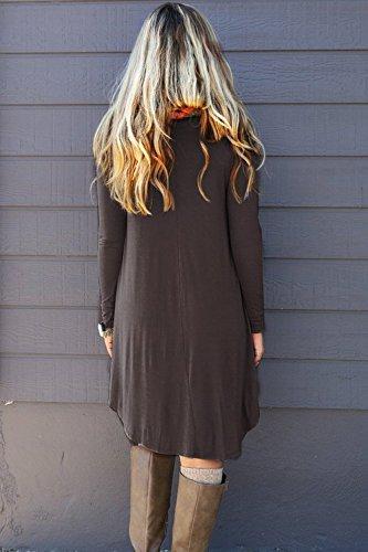 6acc5b6896f10 Women's Irregular Hem Long Sleeve Casual T Shirt Flowy Short Dress Coffee  ...
