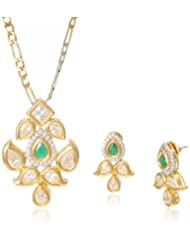 Niki Jewels Pendant Jewellery Set for Women (Emerald and Golden) (00167_960)