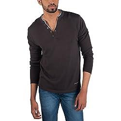 Provogue Men's Cotton Sweater (8903522446849_103602-GY-110_Large_Grey)