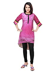 ADS Womens Digital Print Pinkish Magenta Kurti/Tunic(ADS20)
