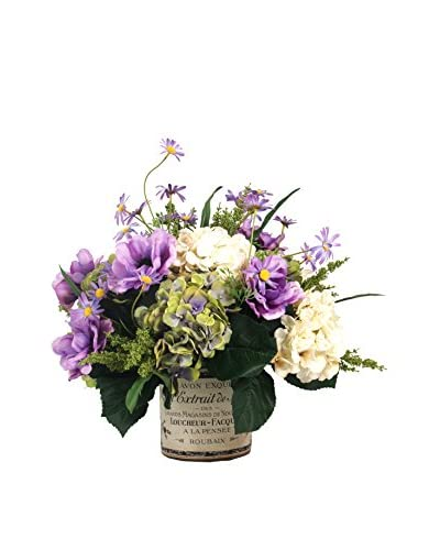 Creative Displays Anemone & Daisy Decoupage Pot, Purple/Green/Crème