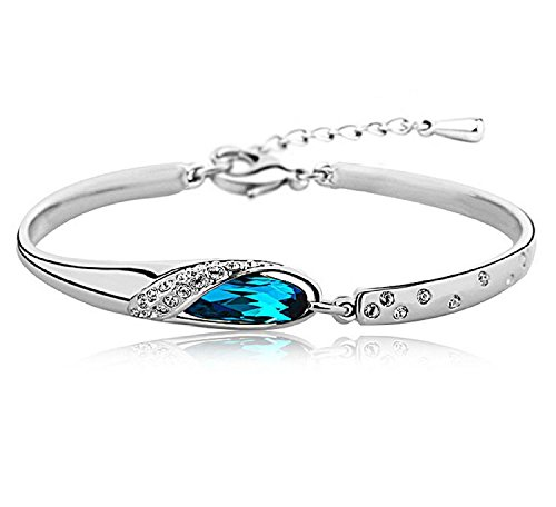 Valentine Gift By Karatcart Platinum Plated Blue Crystal Bracelet for Girls