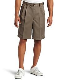 Haggar Men\'s Cool 18 Gabardine Hidden Expandable Waist Pleat Front Short,Bark,40