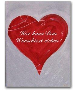 Handgemaltes Herzbild auf Leinwand in SILBER mit persönlicher Wunschbotschaft (30 x 40cm)
