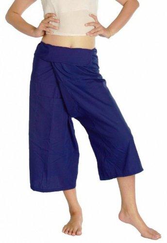 Dark Blue Thai Fisherman Wrap Pants Trousers 3/4 Length Beach Summer Massage Yoga Pregnancy Unisex 100% Light Cotton