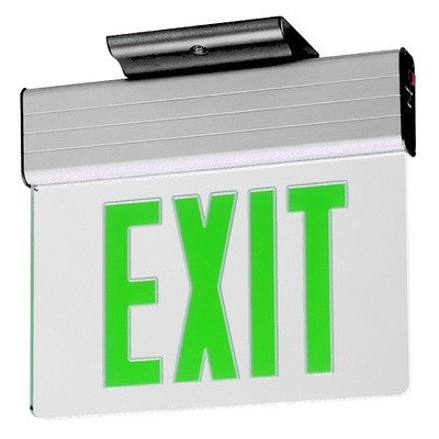 Royal Pacific RXL22GA Double Face Edge Lit Die-Cast Exit Sign, Aluminum with Green Letters