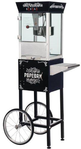 black popcorn machine with cart