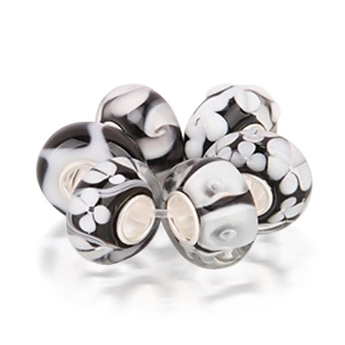 Bling Jewelry Assorted Black White Murano Glass Bead Bundle .925 Sterling Silver Pandora Compatible