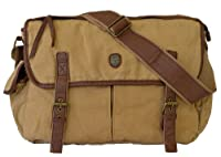 Canvas Vintage Style Leather Over The Shoulder Messenger Bag