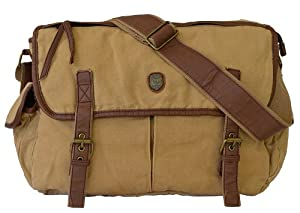 Canvas Vintage Style Leather Over The Shoulder Messenger Bag
