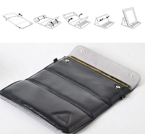 Waterproof Soft Velvet inner PU BAG Case To Stand - Case For IPad 2