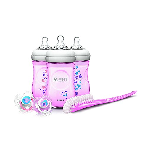 Philips Avent Natural 9 Ounce Baby Bottle Feeding Gift Set - Three Decorated Bpa-free Bottles, a Bottle-cleaning Brush, and Two Decorated Pacifiers (Pink Flowers) - 1