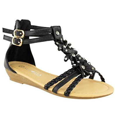 LADIES WOMENS GLADIATOR STRAPPY WEDGE MID LOW HEEL SUMMER BEACH SANDAL SHOE SIZE (UK 3 / EU 36 / US 5, Black Faux Leather)