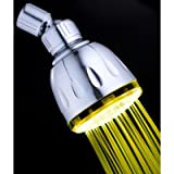 Single Color Fixed LED Illuminated Shower Head Finish: Chrome, LED Color: Yellow