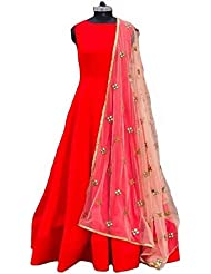 Metroz Party Ware Red Tapeta Silk Anarkali Suit With Dupatta