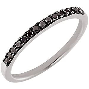 14K White Gold Black Diamond Wedding/Anniversary Band - 0.20 Ct., Size 5.5