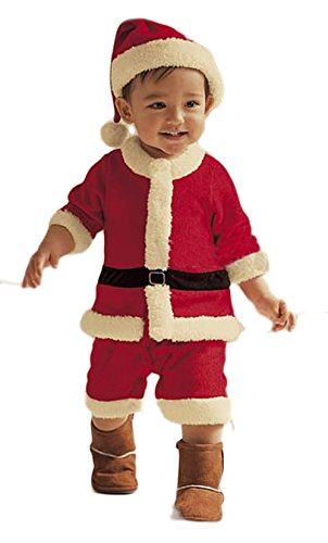 StylesILove Baby Boy Holiday Santa Costume Romper and Hat