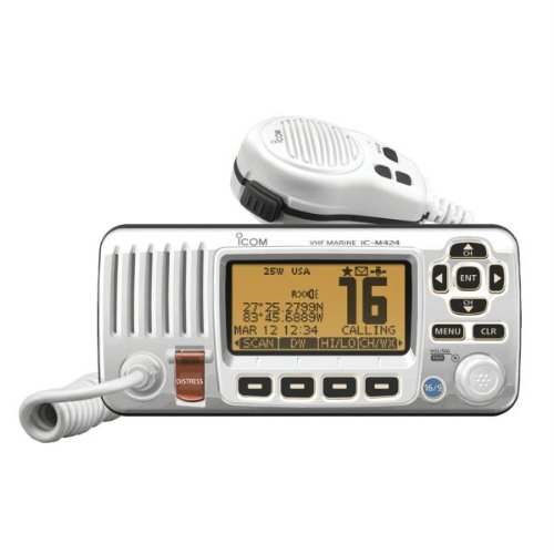ICOM IC-M424 02 Compact Marine VHF Radio with Hailer, White