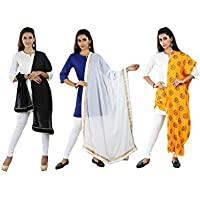 Dupatta for woman for Combo of 3 Vibrant Pure Chiffon (Nazneen) And cotton slub Navratri Special Dupatta / Stoles by PAGAZO