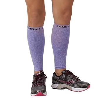 Zensah Compression Leg Sleeves, Heather Purple, Large/X-Large