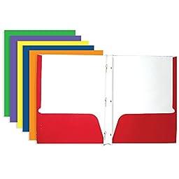 BAZIC Asst. Color 2-Pockets Portfolios w/ 3-Prong Fastener (Case of 100)