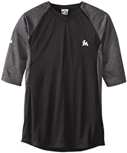 MLB Miami Marlins Featherweight Therma Base Tech Fleece, Pro Black Pro Heather Black by Majestic