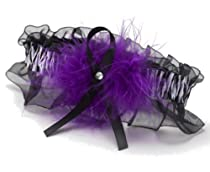 Hortense B. Hewitt Wedding Accessories Garter, Purple Zebra Print with Marabou Accent