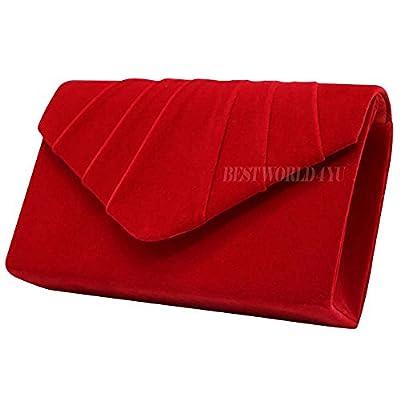 Wocharm Womens Ladies Suede velvet Folds Clutch Bag Handbag Bridal Evening Prom party Clutch Shoulder Bag (Red) - more-bags