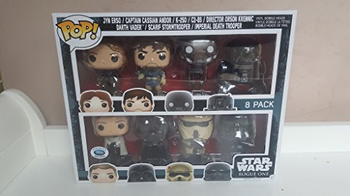 Funko Star Wars Rogue One Pop! 8 Pack Vinyl Bobble-Head Figures (UK Disney Exclusive) Includes: Jyn Erso, Captain Cassian Andor, K-2SO, C2-B5, Director Orson Krennic, Darth Vader, Scarif Stormtrooper and Imperial Death Trooper