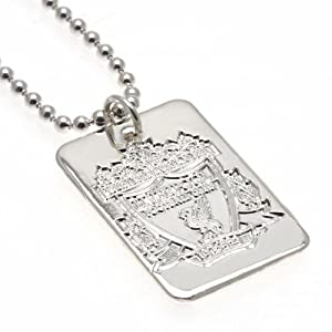 Liverpool F.C. Silver Plated Dog Tag & Chain- silver plated dog tag; chain- dog tag approx 20mm x 30mm- chain approx 51cm (20 inches)- in blister pack- official licensed product from Silver Plated