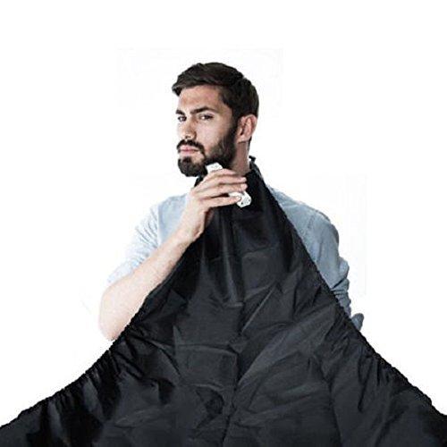 sourcingmap Black Beard Apron Whiskers Cloth Bib Facial Hair Trimmer Catcher Cape 120cmx79cm