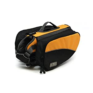 Kyjen 2500 Dog Backpack Easy-Fit Dog Pack with Removable Saddlebags, Small, Orange