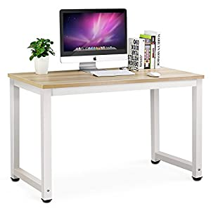 Tribesigns Simple Style Computer PC Laptop Wooden Desk Workstation for Home Office (Light Walnut)