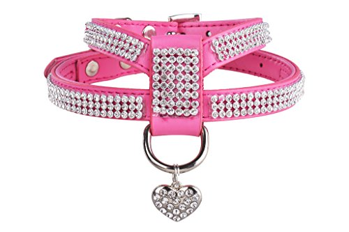 EXPAWLORER Dog Harness Genuine Leather Soft Padded Pet Sparkly Rhinestone Vest with Heart Pendant for Puppy Cat , Pink (Girl Dog Harness compare prices)