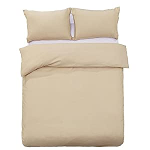 Word of Dream Brushed Microfiber Solid Duvet Cover Sets 3 PC, Luxury Soft, Full/Queen - Beige