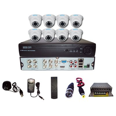 Hieon H80CIRD10-HDV804 8Channel DVR + 8 IR Dome Cameras (With Mouse, Remote, Cable, AV Pin, SMPS)