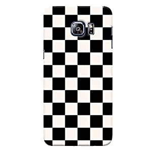 ColourCrust Samsung Galaxy S6 Edge Plus Mobile Phone Back Cover With Black and White Checks Pattern Style - Durable Matte Finish Hard Plastic Slim Case